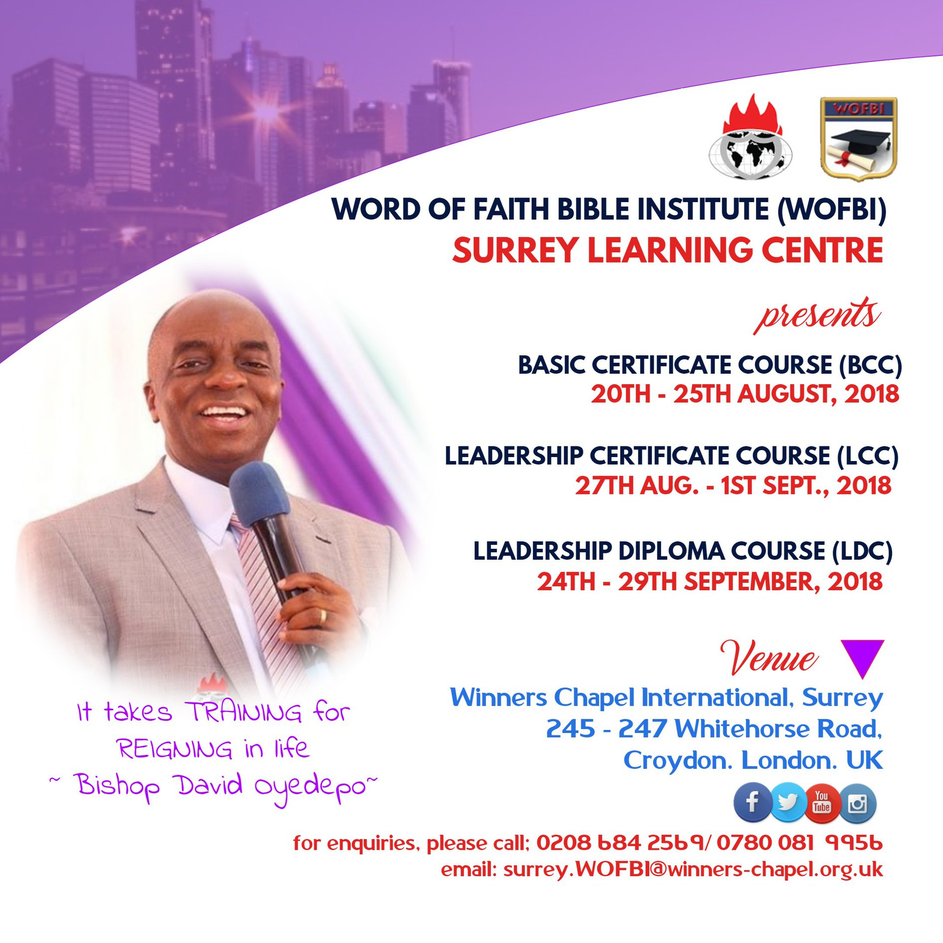 Winners Chapel Surrey | WORD OF FAITH BIBLE INSTITUTE (WOFBI)